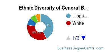 Business & Commerce Majors in CA Ethnic Diversity Statistics