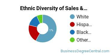 General Sales & Marketing Majors in AZ Ethnic Diversity Statistics