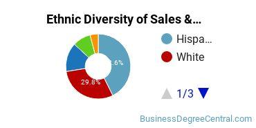 General Sales & Marketing Majors in CA Ethnic Diversity Statistics
