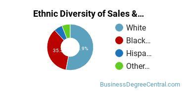 General Sales & Marketing Majors in MD Ethnic Diversity Statistics