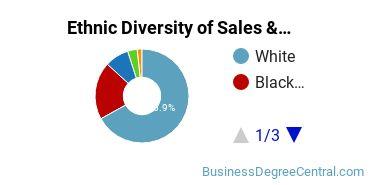 General Sales & Marketing Majors in MO Ethnic Diversity Statistics