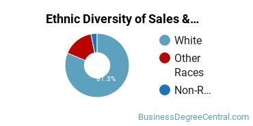 General Sales & Marketing Majors in NH Ethnic Diversity Statistics