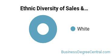 General Sales & Marketing Majors in ND Ethnic Diversity Statistics