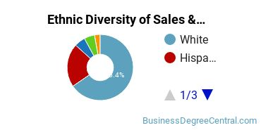 General Sales & Marketing Majors in TX Ethnic Diversity Statistics